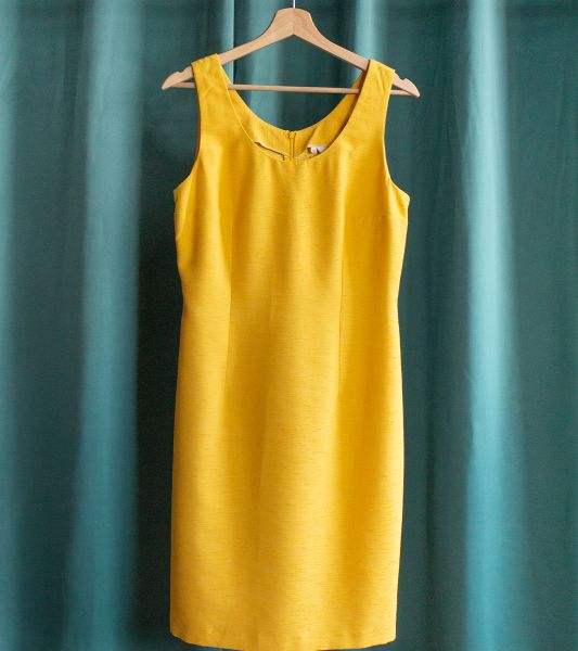 Vintage yellow dress with wide straps