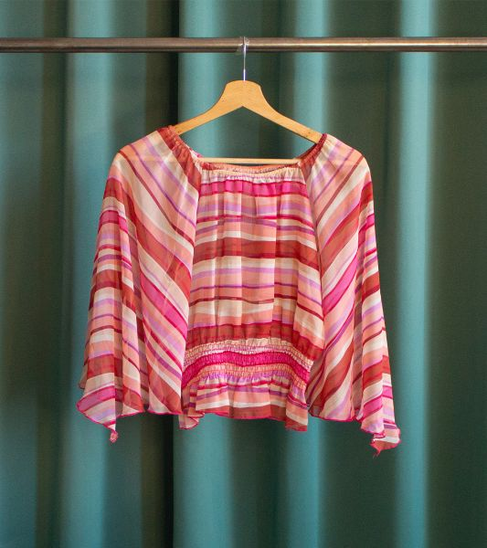 Vintage pink transparent blouse with stripes and flared sleeves