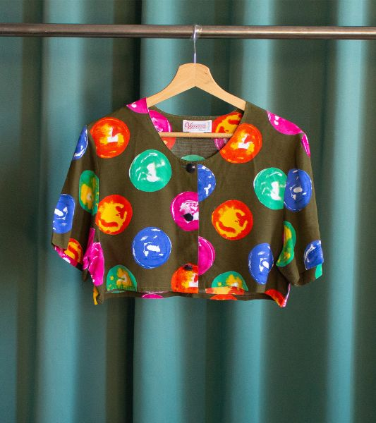 Vintage crop top with large colorful polka dots