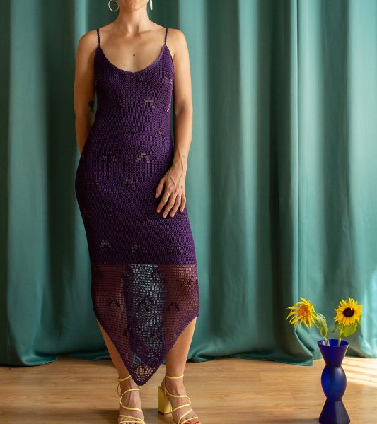 Vintage crochet and beading long dress with straps