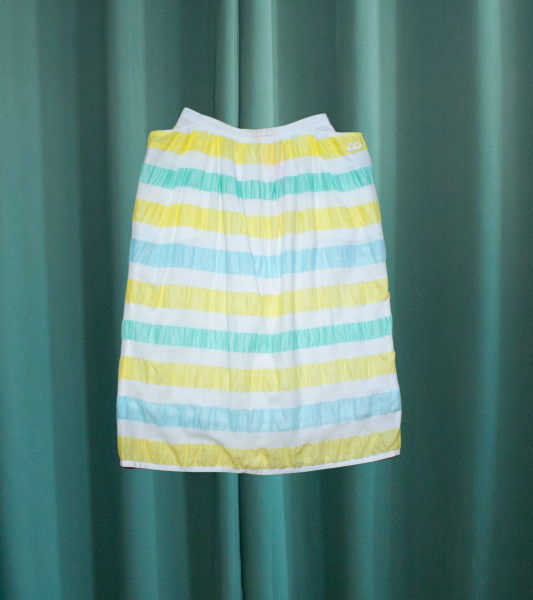 Vintage Courrèges Sport skirt with yellow and turquoise stripes