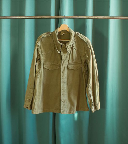 Vintage military jacket olive green M47 of the French army