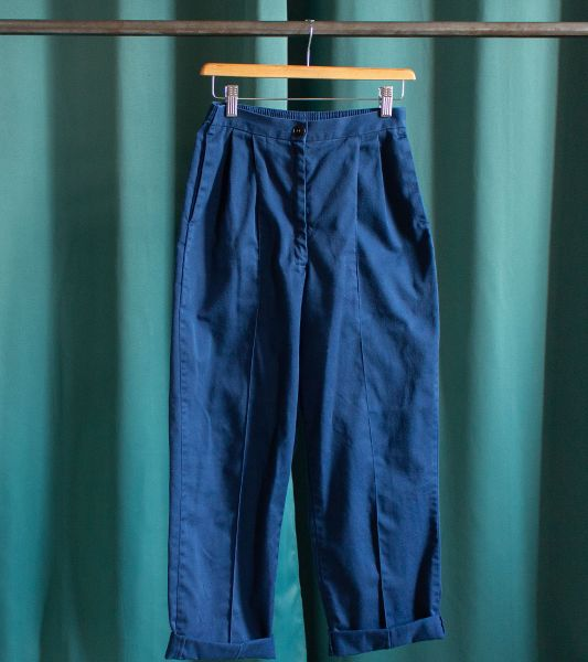 Vintage blue military trousers with pleats