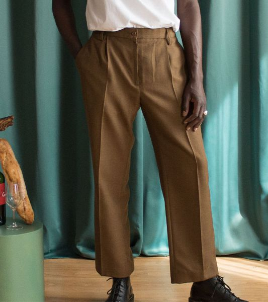 Vintage British army barrack trousers with straight chino cut and brown pliers