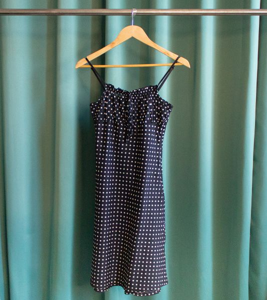 Vintage black dress with straps and polka dots