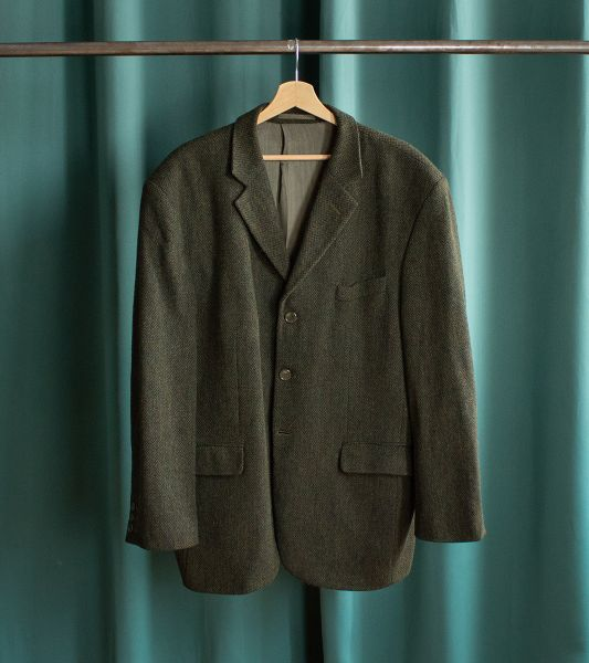 Vintage dark green wool blazer jacket