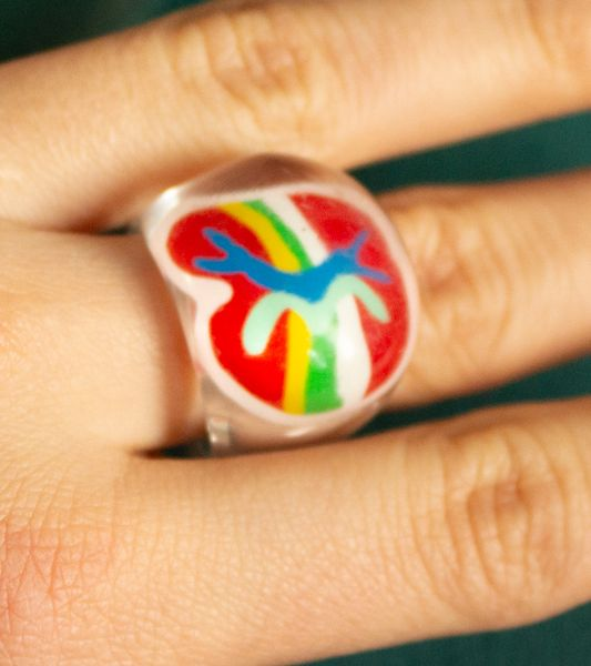 Patterned red 2000's fantasy ring