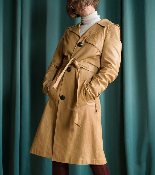 Beige vintage leather trench coat