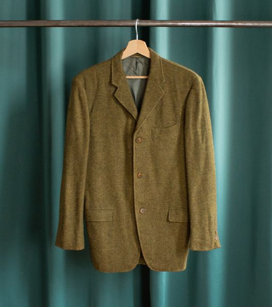 Vintage American work blazer jacket in wool with herringbone pattern