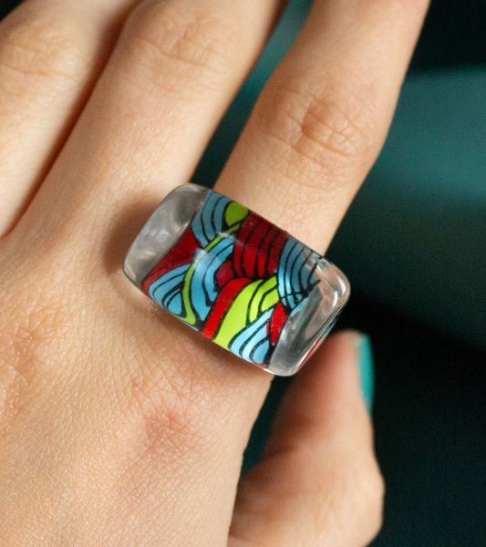 Vintage fantasy ring with abstract colorful patterns