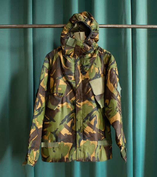 Vintage British army military parka with camouflage pattern
