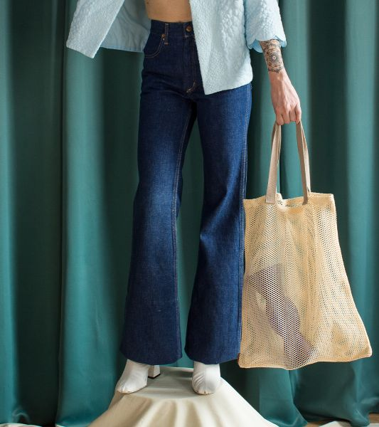 70's vintage high waisted flare jeans in raw denim