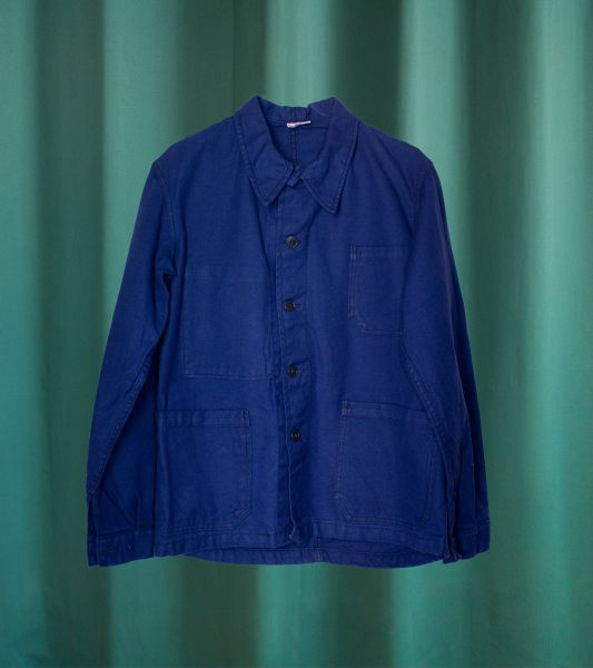 Vintage French indigo blue work jacket from the 80's