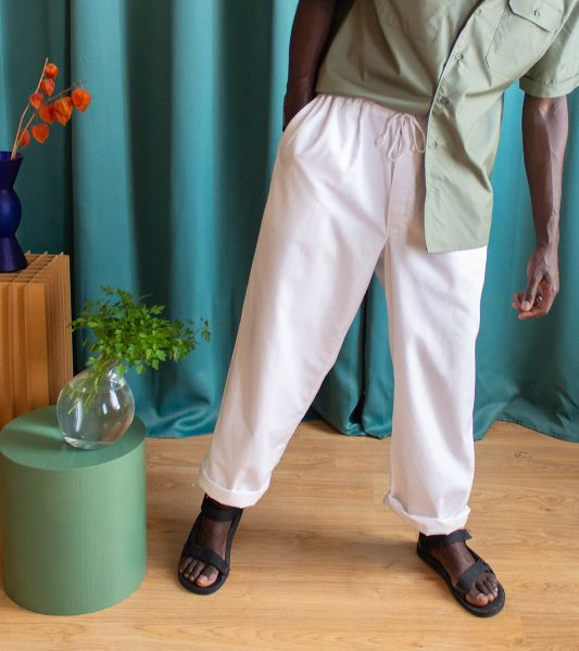 Vintage white work pants with tie at the waist
