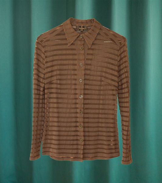 Fendi brown blouse with sheer stripes