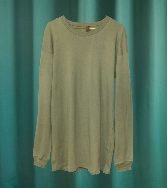 Long sleeve military T-shirt or light sweater in olive green cotton