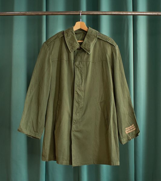 Vintage olive green mid-length army jacket