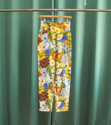 Vintage high-waisted Kenzo pants with flowers